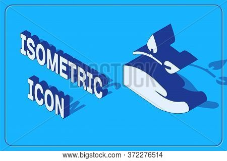 Isometric Leaf In Hand Of Environmental Protection Icon Isolated On Blue Background. Seed And Seedli