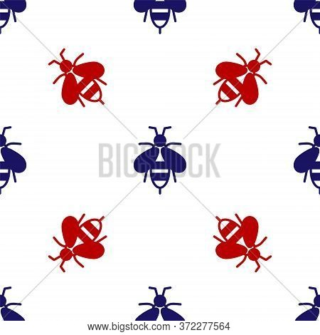Blue And Red Bee Icon Isolated Seamless Pattern On White Background. Sweet Natural Food. Honeybee Or