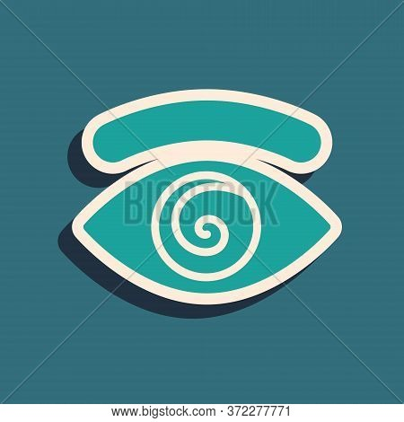 Green Hypnosis Icon Isolated On Green Background. Human Eye With Spiral Hypnotic Iris. Long Shadow S