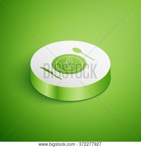 Isometric Served Fish On A Plate Icon Isolated On Green Background. White Circle Button. Vector.