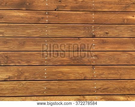 Wood Texture Background. Light Wooden Background With Metal Pegs. Copy Space