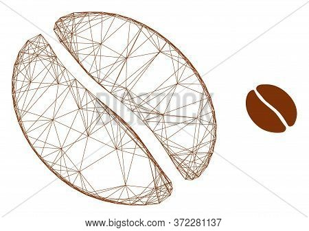 Web Carcass Coffee Bean Vector Icon. Flat 2d Carcass Created From Coffee Bean Pictogram. Abstract Ca