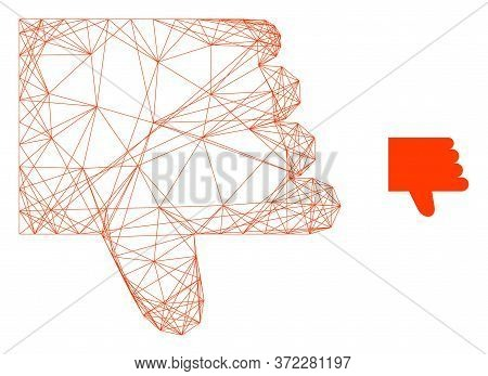 Web Net Thumb Down Vector Icon. Flat 2d Carcass Created From Thumb Down Pictogram. Abstract Carcass