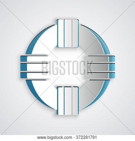 Paper Cut Lifebuoy Icon Isolated On Grey Background. Lifebelt Symbol. Paper Art Style. Vector.