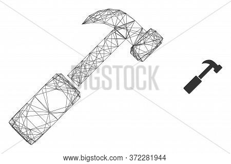 Web Carcass Hammer Vector Icon. Flat 2d Carcass Created From Hammer Pictogram. Abstract Carcass Mesh
