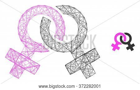 Web Mesh Lesbian Symbol Vector Icon. Flat 2d Carcass Created From Lesbian Symbol Pictogram. Abstract