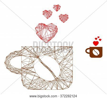 Web Carcass Lovely Coffee Cup Vector Icon. Flat 2d Carcass Created From Lovely Coffee Cup Pictogram.