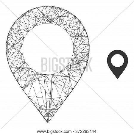 Web Carcass Map Pointer Vector Icon. Flat 2d Carcass Created From Map Pointer Pictogram. Abstract Fr