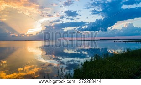 Sunset At Mobile Bay On The Alabama Gulf Coast