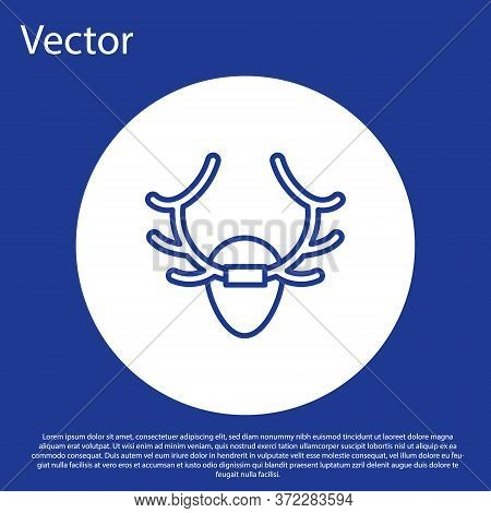 Blue Line Deer Antlers On Shield Icon Isolated On Blue Background. Hunting Trophy On Wall. White Cir