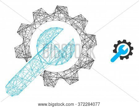 Web Net Repair Service Vector Icon. Flat 2d Carcass Created From Repair Service Pictogram. Abstract