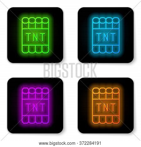 Glowing Neon Line Detonate Dynamite Bomb Stick And Timer Clock Icon Isolated On White Background. Ti