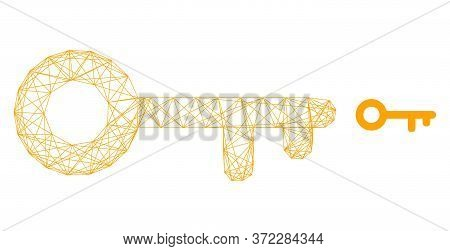Web Mesh Key Vector Icon. Flat 2d Carcass Created From Key Pictogram. Abstract Carcass Mesh Polygona