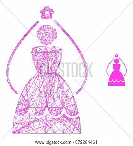 Web Network Bride Vector Icon. Flat 2d Carcass Created From Bride Pictogram. Abstract Carcass Mesh P