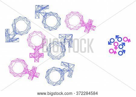 Web Mesh Gender Symbols Vector Icon. Flat 2d Model Created From Gender Symbols Pictogram. Abstract C