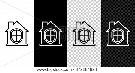 Set Line House Under Protection Icon Isolated On Black And White Background. Home And Shield. Protec