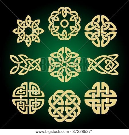 Various Celtic Knots, Goidelic Frames, Vector Illustration. Simple Knotwork Designs On Dark Backgrou