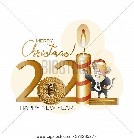 New Year's Bull. 2021. Calendar. Design Template With Bitcoins, Candle And Bull Cartoons. New Year C