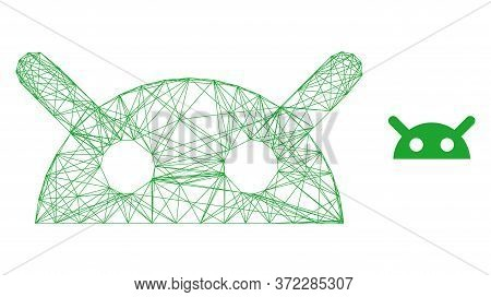 Web Network Robot Head Vector Icon. Flat 2d Carcass Created From Robot Head Pictogram. Abstract Carc