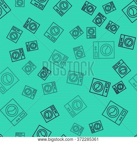 Black Line Washer Icon Isolated Seamless Pattern On Green Background. Washing Machine Icon. Clothes