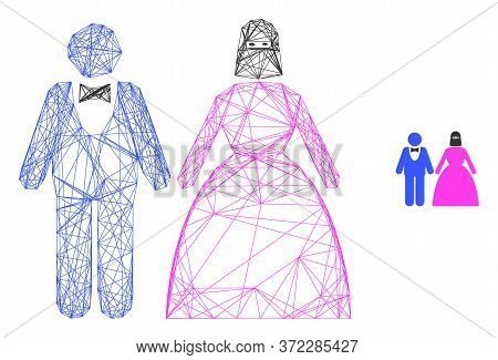 Web Mesh Muslim Marriage Couple Vector Icon. Flat 2d Carcass Created From Muslim Marriage Couple Pic
