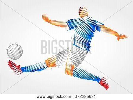 Soccer Player Stretching The Body To Dominate The Ball Made Of Colorful Brushstrokes On Light Backgr