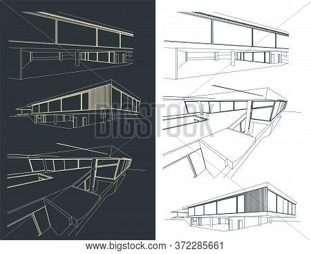 Modern Buildings Sketches Set