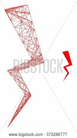Web Mesh Electric Strike Vector Icon. Flat 2d Carcass Created From Electric Strike Pictogram. Abstra