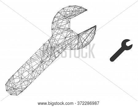 Web Mesh Repair Tool Vector Icon. Flat 2d Carcass Created From Repair Tool Pictogram. Abstract Carca