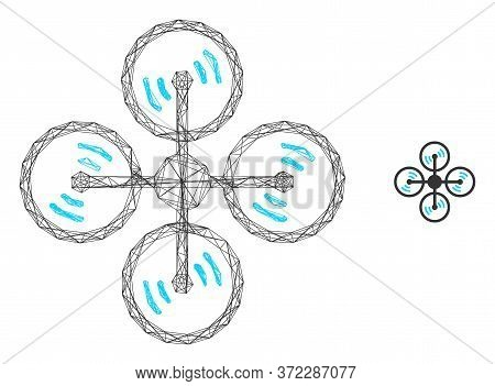 Web Carcass Air Copter Vector Icon. Flat 2d Carcass Created From Air Copter Pictogram. Abstract Carc