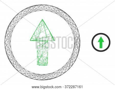 Web Mesh Rounded Up Arrow Vector Icon. Flat 2d Carcass Created From Rounded Up Arrow Pictogram. Abst