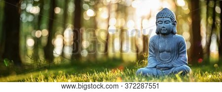 Buddha Statu In Natural Background. Meditation on Nature