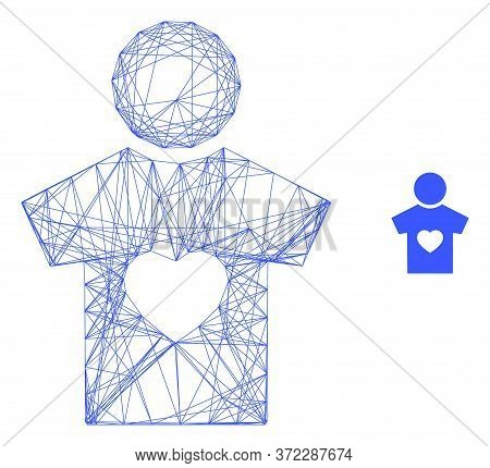 Web Mesh Boyfriend Vector Icon. Flat 2d Carcass Created From Boyfriend Pictogram. Abstract Carcass M