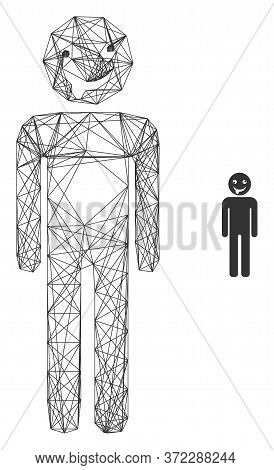 Web Carcass Idiot Person Vector Icon. Flat 2d Model Created From Idiot Person Pictogram. Abstract Fr