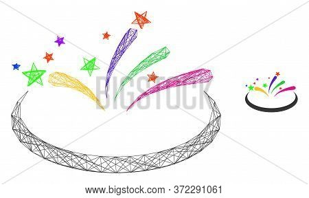 Web Mesh Fireworks Area Vector Icon. Flat 2d Carcass Created From Fireworks Area Pictogram. Abstract
