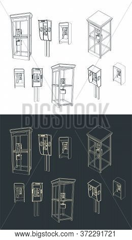 Stylized Vector Illustration Of A Set Of Different Telephone Booths