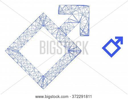 Web Mesh Male Symbol Vector Icon. Flat 2d Model Created From Male Symbol Pictogram. Abstract Carcass