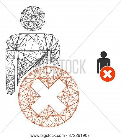 Web Mesh Delete Man Vector Icon. Flat 2d Carcass Created From Delete Man Pictogram. Abstract Carcass