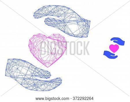 Web Net Favourite Heart Care Hands Vector Icon. Flat 2d Carcass Created From Favourite Heart Care Ha