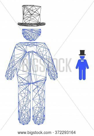 Web Mesh Gentleman Vector Icon. Flat 2d Model Created From Gentleman Pictogram. Abstract Carcass Mes