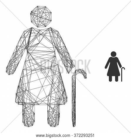 Web Carcass Grandmother Vector Icon. Flat 2d Carcass Created From Grandmother Pictogram. Abstract Ca