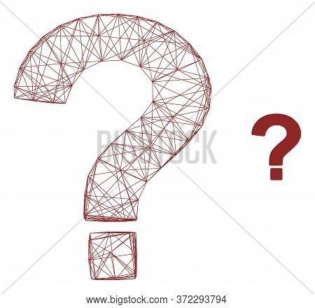 Web Net Question Vector Icon. Flat 2d Carcass Created From Question Pictogram. Abstract Frame Mesh P