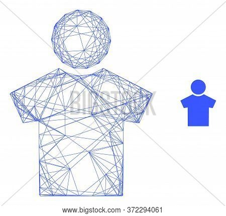 Web Carcass Boy Vector Icon. Flat 2d Carcass Created From Boy Pictogram. Abstract Carcass Mesh Polyg