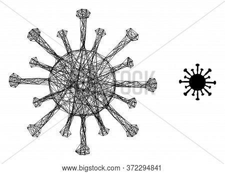 Web Net Coronavirus Vector Icon. Flat 2d Carcass Created From Coronavirus Pictogram. Abstract Carcas