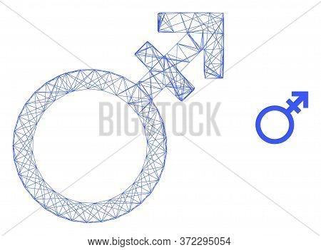 Web Mesh Alternate Gender Symbol Vector Icon. Flat 2d Carcass Created From Alternate Gender Symbol P