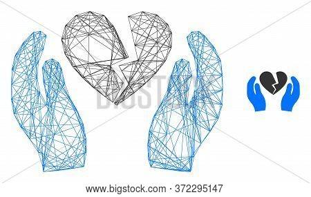 Web Mesh Broken Heart Care Palms Vector Icon. Flat 2d Carcass Created From Broken Heart Care Palms P