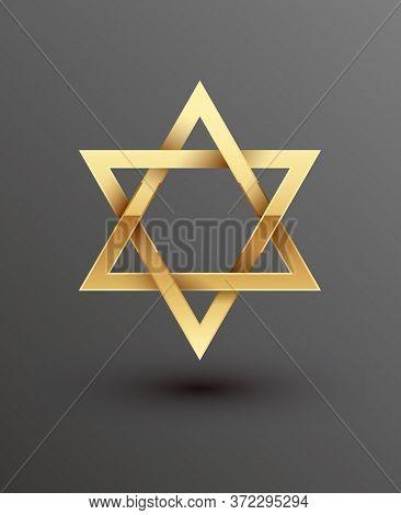 Vector Illustration Of Golden Magen David Star Of David