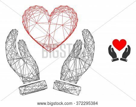 Web Mesh Love Heart Care Hands Vector Icon. Flat 2d Model Created From Love Heart Care Hands Pictogr
