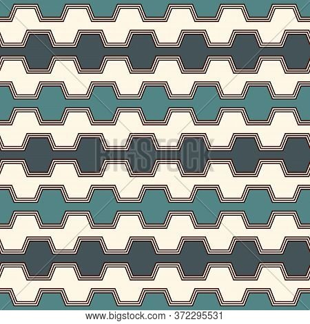 Blue Colors Seamless Pattern With Battlement Curved Lines. Repeated Geometric Figures Wallpaper. Mod