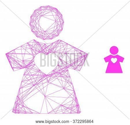 Web Mesh Girlfriend Vector Icon. Flat 2d Carcass Created From Girlfriend Pictogram. Abstract Carcass